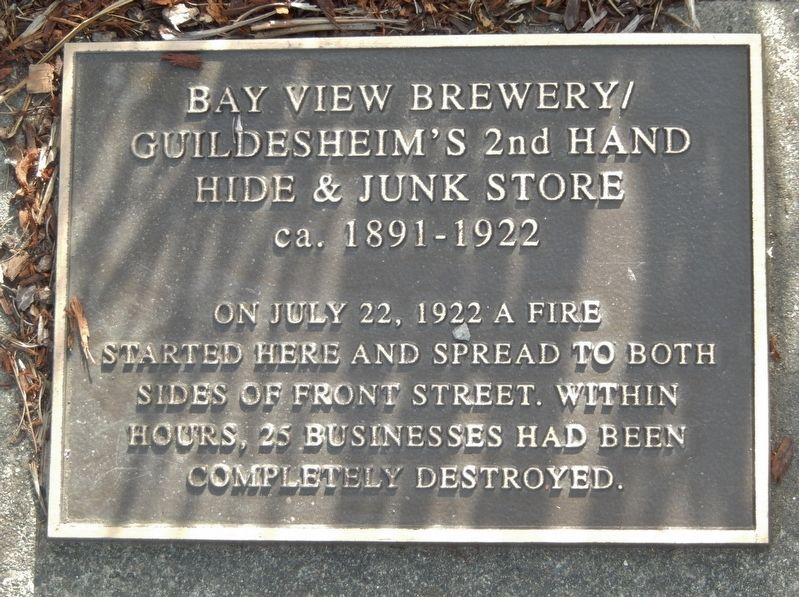 Bay View Brewery / Guildesheim's 2nd Hand Hide & Junk Store Marker image. Click for full size.