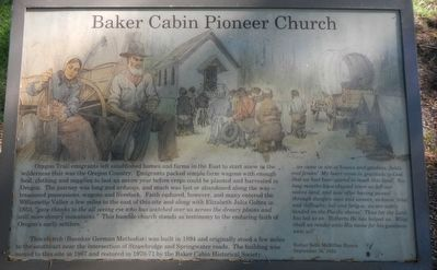 Baker Cabin Pioneer Church Marker image. Click for full size.