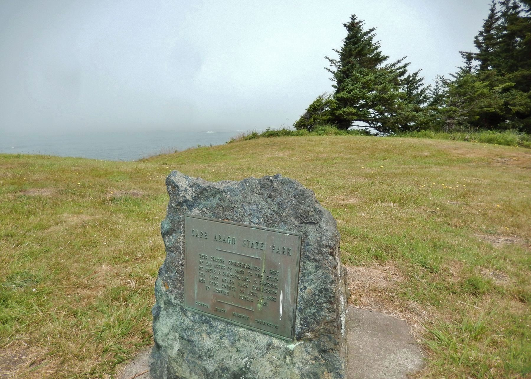 Cape Arago State Park Dedication (<i>near marker</i>) image. Click for full size.