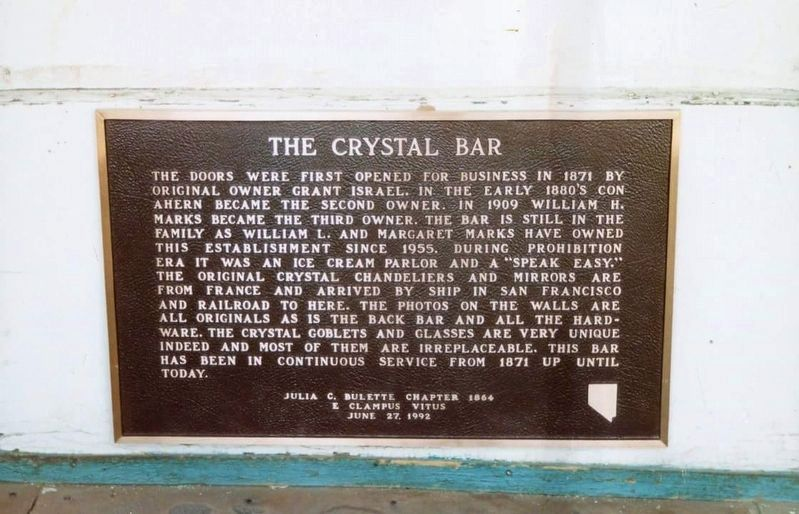 The Crystal Bar Marker <i>(When the marker was mounted to the building.)</i> image. Click for full size.