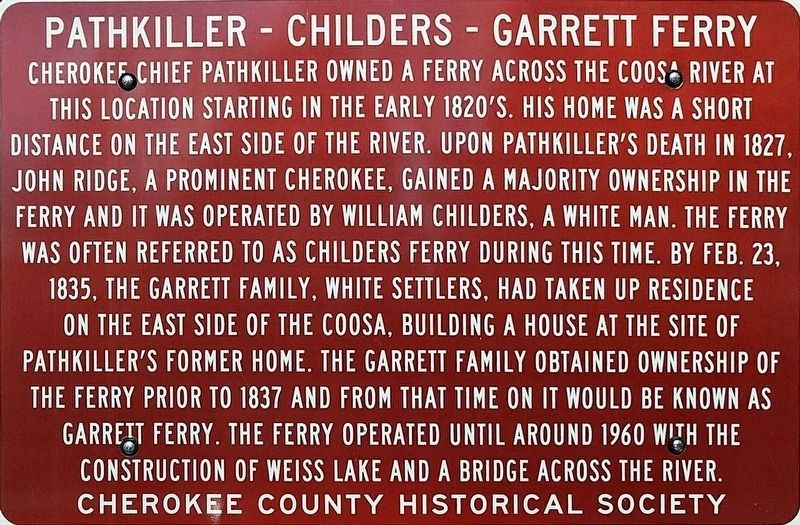 Pathkiller - Childers - Garrett Ferry Marker image. Click for full size.