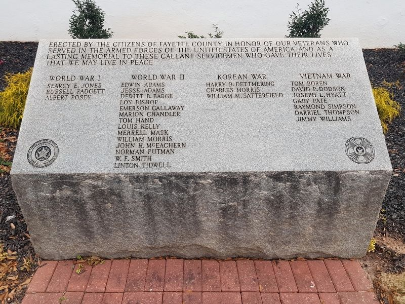 Fayette County Veterans Memorial Marker image. Click for full size.