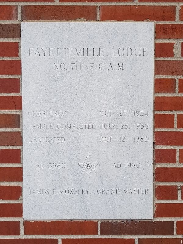 Fayetteville Masonic Lodge dedication stone from 1980 image. Click for full size.
