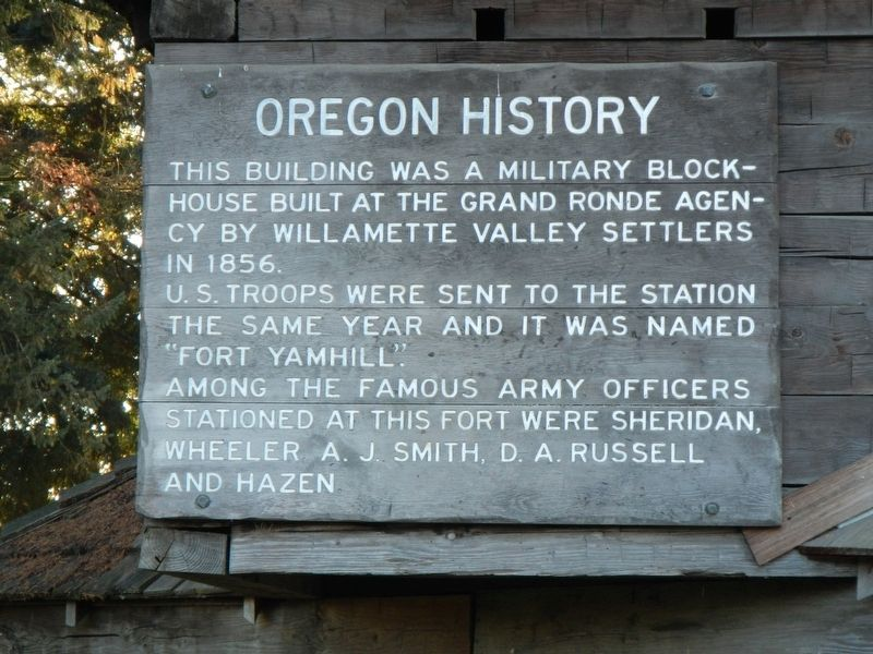 Yamhill Blockhouse Marker, panel 1 image. Click for full size.