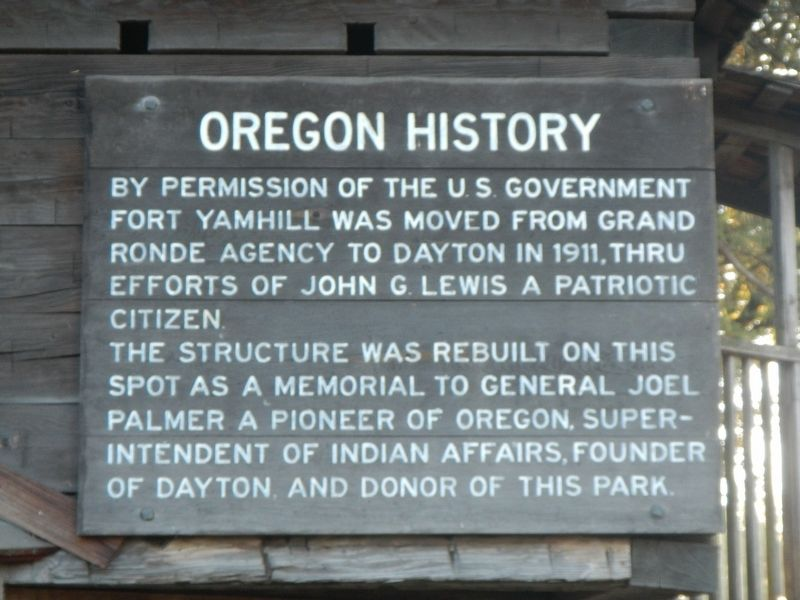 Yamhill Blockhouse Marker, panel 2 image. Click for full size.