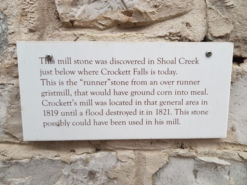 Shoal Creek Mill Stone Marker image. Click for full size.