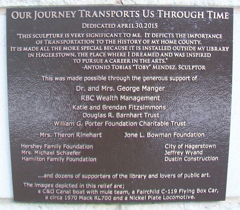 Our Journey Transports Us Through Time Marker image. Click for full size.