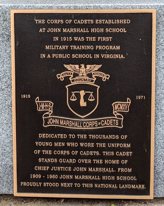 John Marshall Corps of Cadets Marker image. Click for full size.