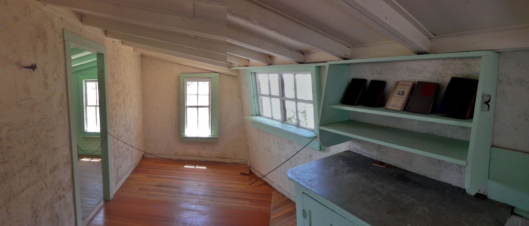 Frijole School House (<i>interior view</i>) image. Click for full size.