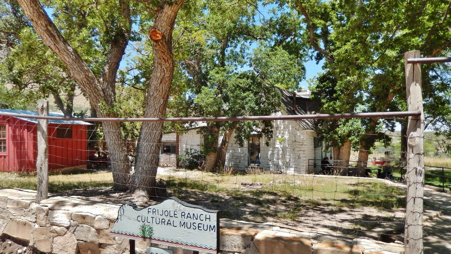 Frijole Ranch Cultural Museum entrance (<i>school house on left; ranch house on right</i>) image. Click for full size.