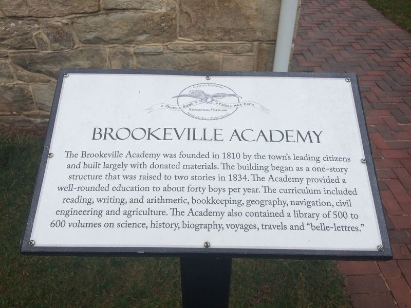 Brookeville Academy Marker image. Click for full size.