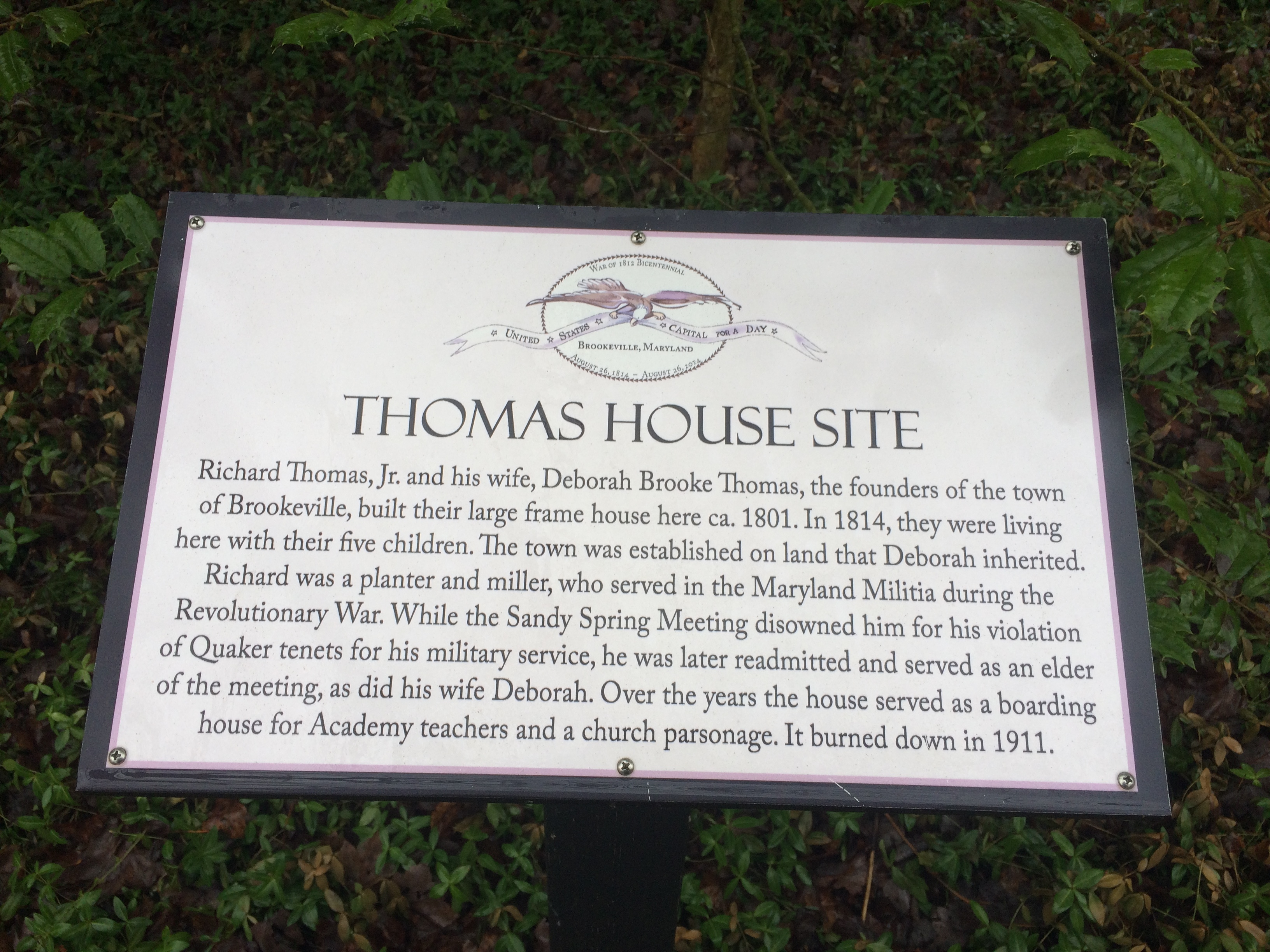 Thomas House Site Marker
