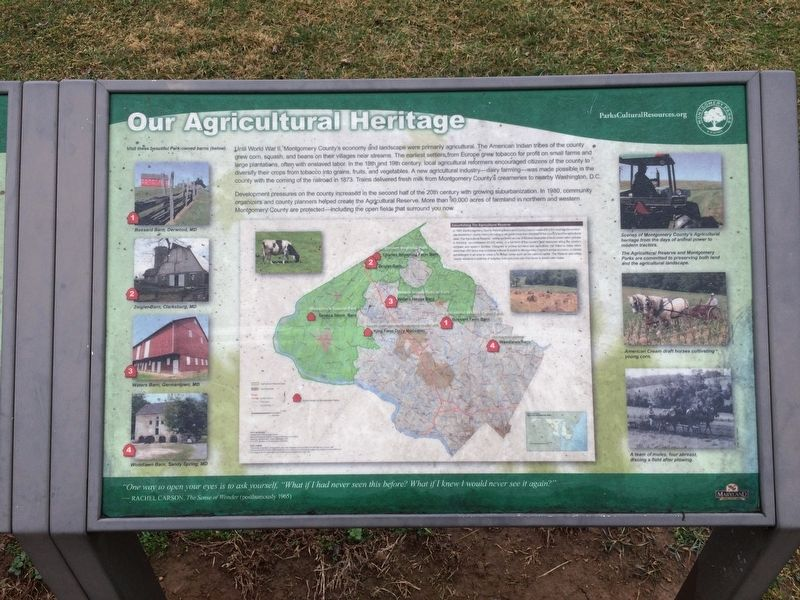 Our Agricultural Heritage Marker image. Click for full size.