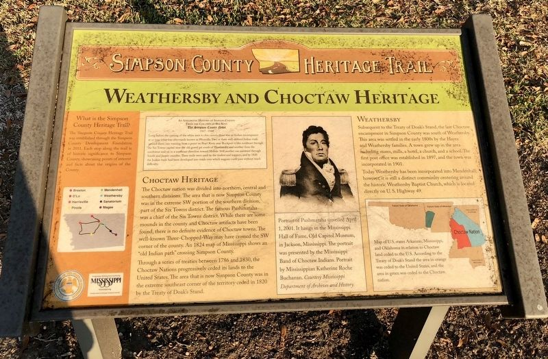 Weathersby and Choctaw Heritage Marker image. Click for full size.