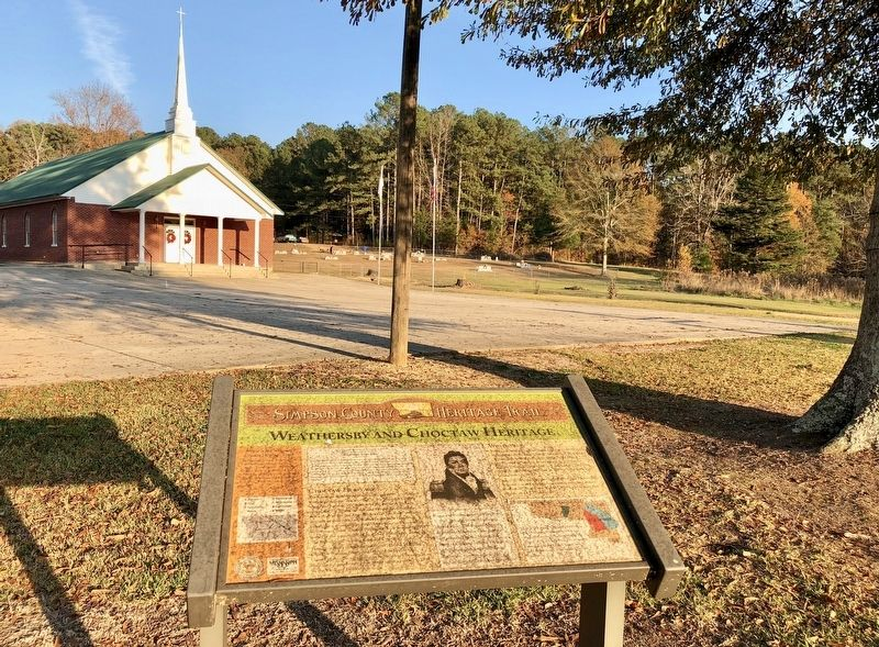Weathersby and Choctaw Heritage marker near Weathersby Baptist Church. image. Click for full size.