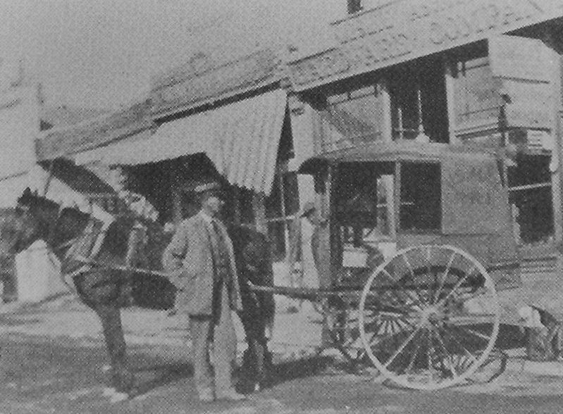 Marker detail: Mailman Dicky Jensen ready to load his mail buggy in 1913 image. Click for full size.