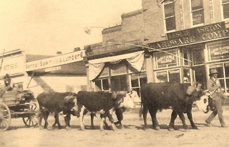 Marker detail: Oxen & wagon in front of Leslie Ashton's Hardware Company image. Click for full size.