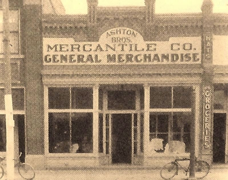 Marker detail: Ashton Brothers Mercantile, ca. 1923 image. Click for full size.