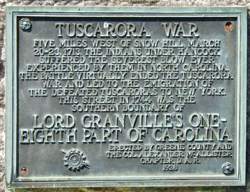 Tuscarora War Marker image. Click for full size.