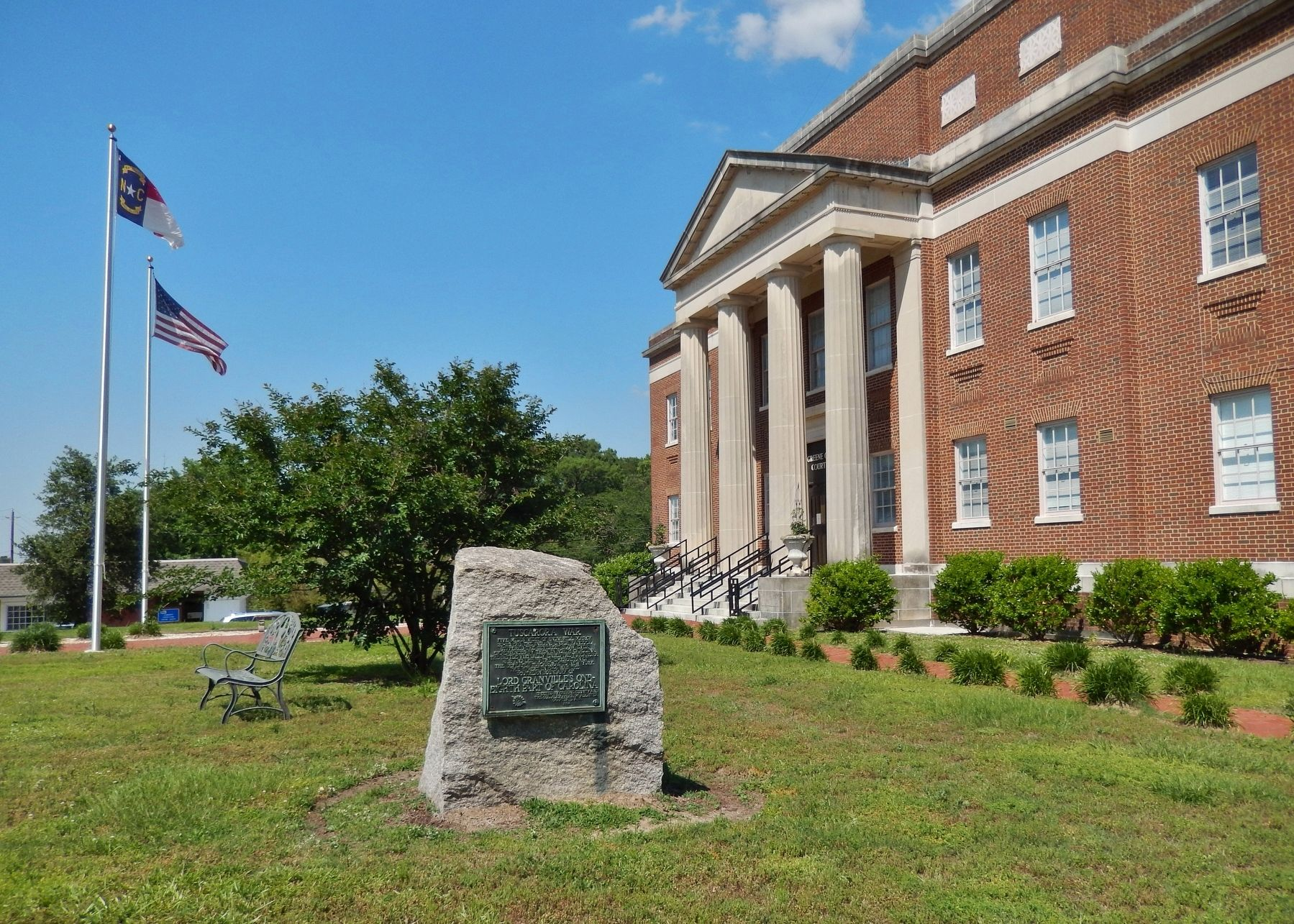 Tuscarora War Marker (<i>wide view; Greene County Courthouse in background</i>) image. Click for full size.