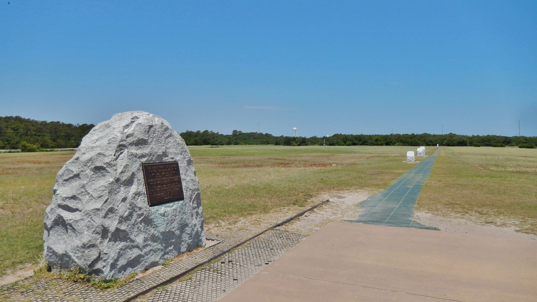 Trail along path of first flights, with related markers (<i>near this marker</i>) image. Click for full size.