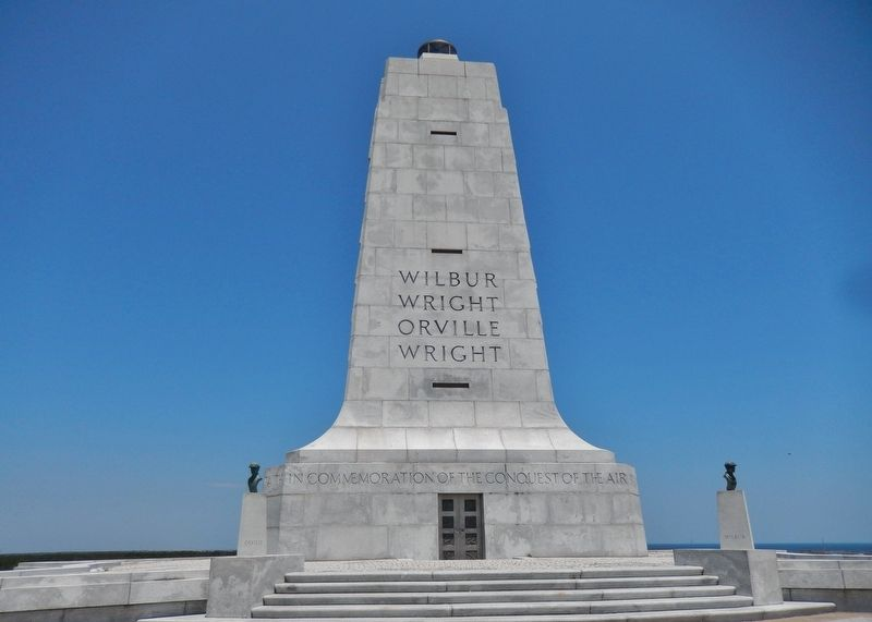 Wright Brothers Monument (<i>uphill from this marker</i>) image. Click for full size.