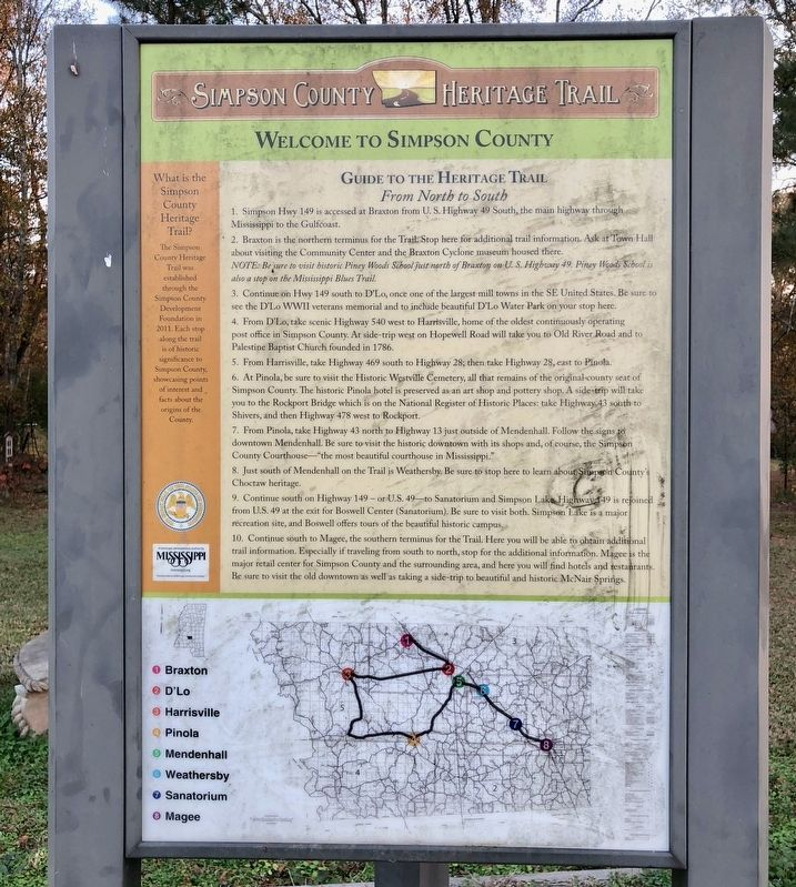 Guide to the Simpson County Heritage Trail and provides directions & map. image. Click for full size.