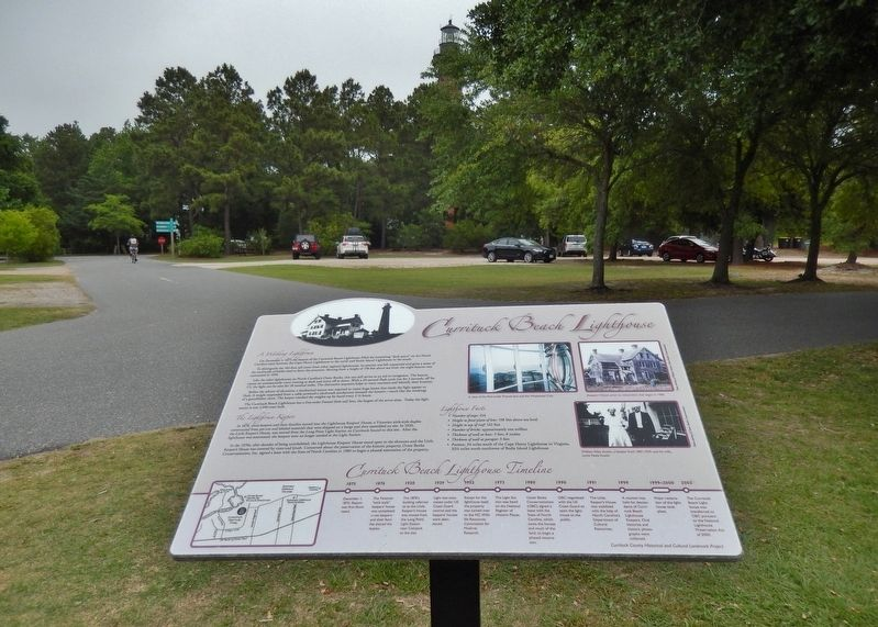 Currituck Beach Lighthouse Marker (<i>wide view; top of lighthouse visible in background</i>) image. Click for full size.