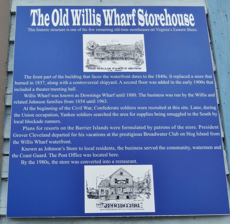 The Old Willis Wharf Storehouse Marker image. Click for full size.