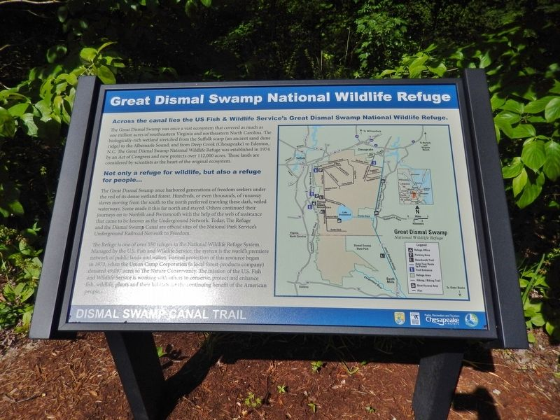 Great Dismal Swamp National Wildlife Refuge Marker (<i>wide view</i>) image. Click for full size.