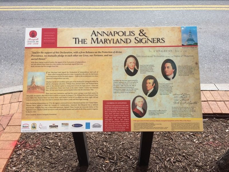 Annapolis & The Maryland Signers Marker image. Click for full size.