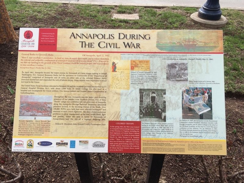 Annapolis During The Civil War Marker image. Click for full size.