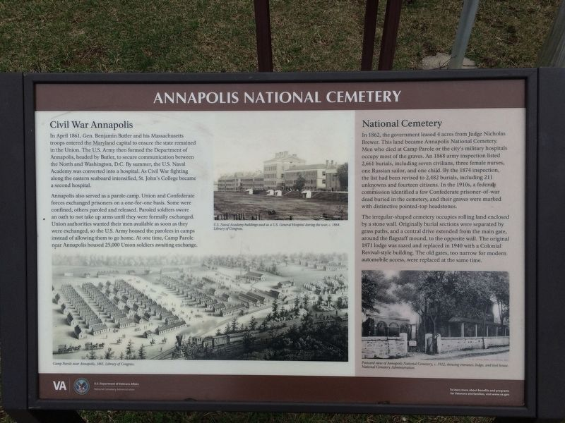 Annapolis National Cemetery Marker image. Click for full size.
