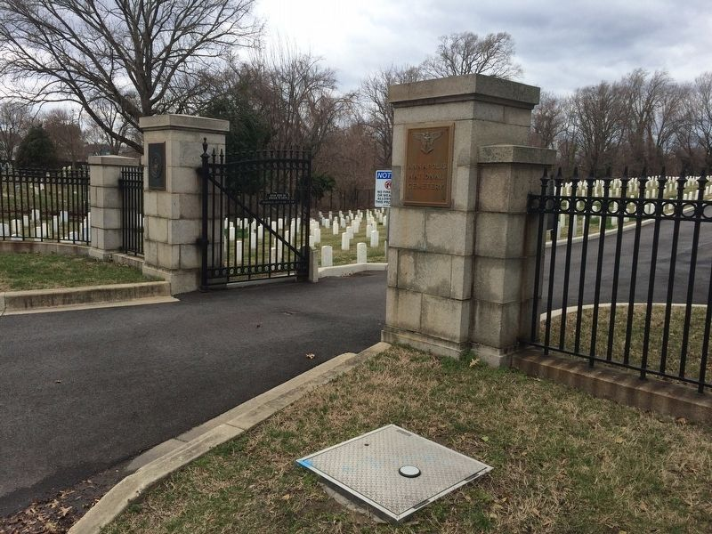 Entrance Gates to Annapolis National Cemetery located on West Street image. Click for full size.