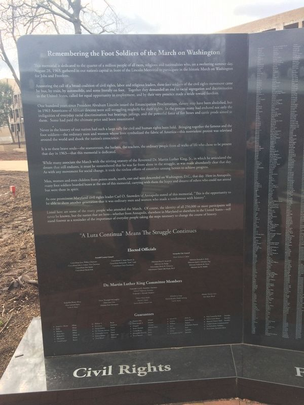 Remembering the Foot Soldiers of the March on Washington Left Plaque image. Click for full size.
