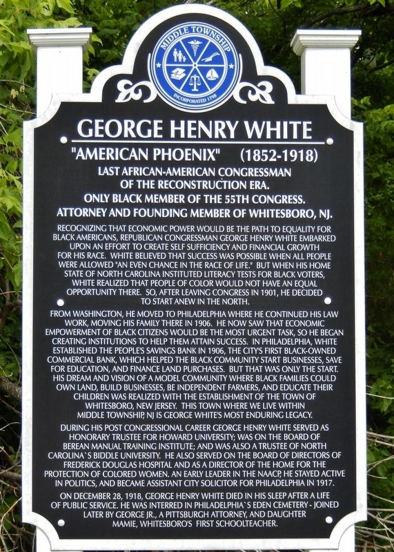 George Henry White Marker image. Click for full size.