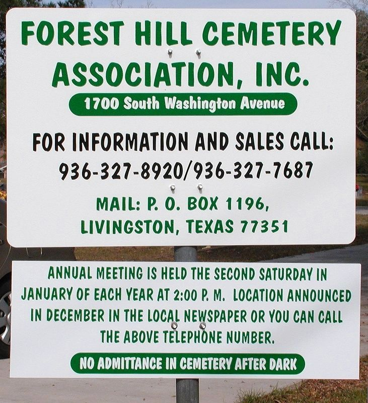 Forest Hill Cemetery Information image. Click for full size.