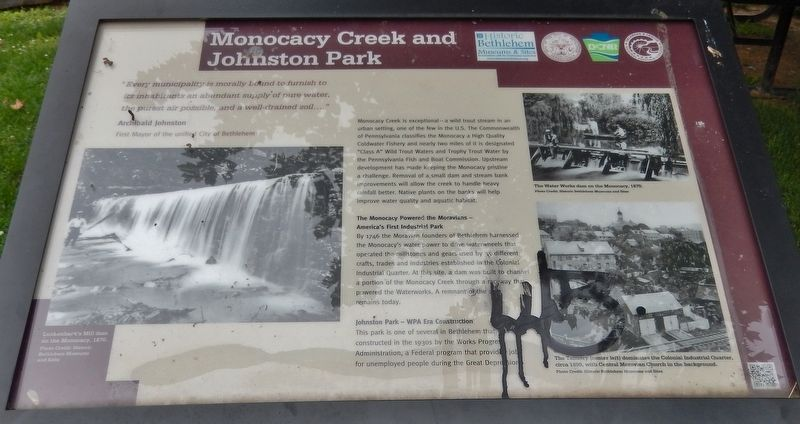 Monocacy Creek and Johnston Park Marker image. Click for full size.