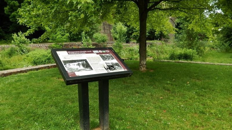 Monocacy Creek and Johnston Park Marker (<i>wide view</i>) image. Click for full size.