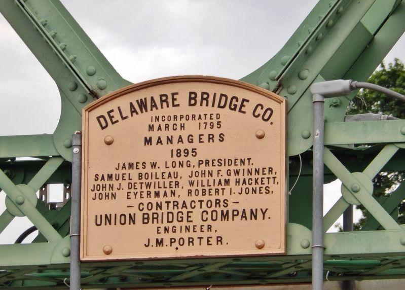 Delaware Bridge Company Plaque (<i>mounted top/center on bridge structure</i>) image. Click for full size.