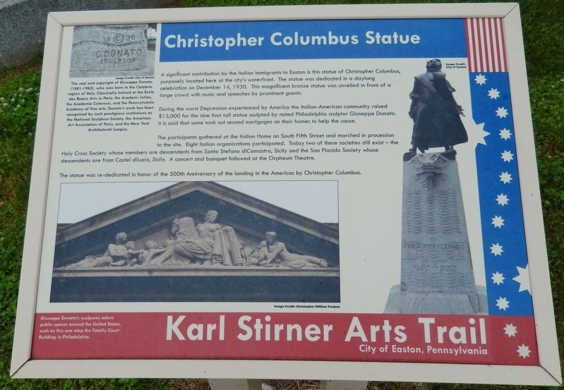 Christopher Columbus Statue Marker image. Click for full size.