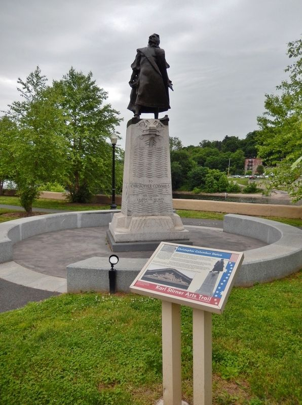 Christopher Columbus Statue Marker (<i>tall view; statue in background</i>) image. Click for full size.