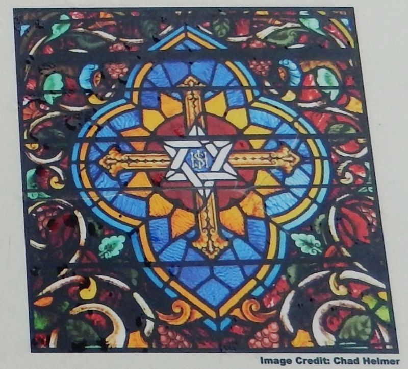 Marker detail: Stained glass Star of David image. Click for full size.