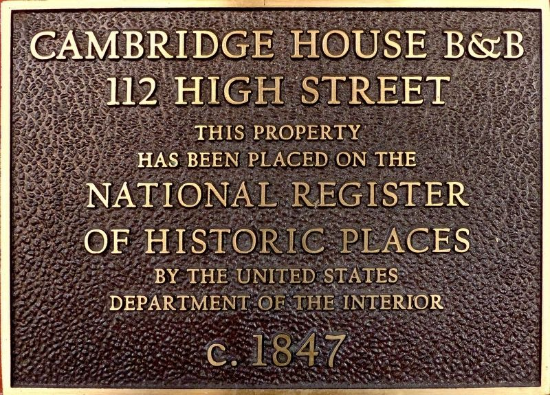 Cambridge House B&B Marker image. Click for full size.