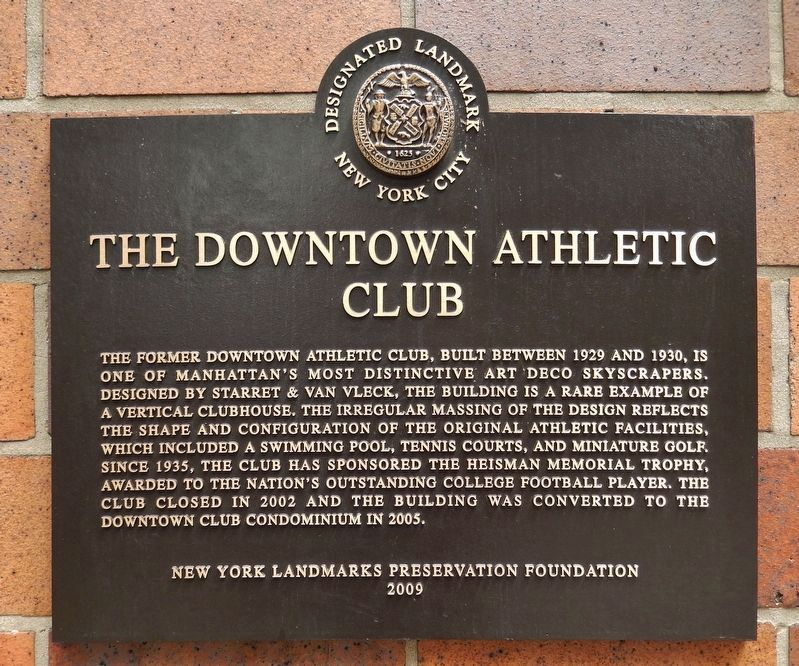 The Downtown Athletic Club Marker image. Click for full size.