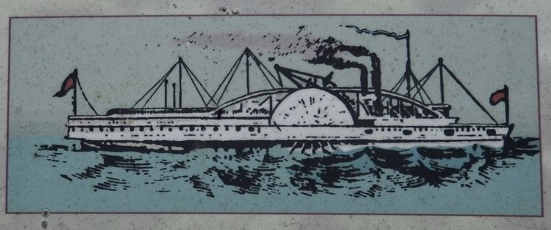 Marker detail: Paddle-wheel Steamer, <i>Mosquito</i> image. Click for full size.