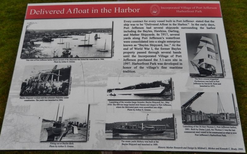 Delivered Afloat in the Harbor Marker image. Click for full size.