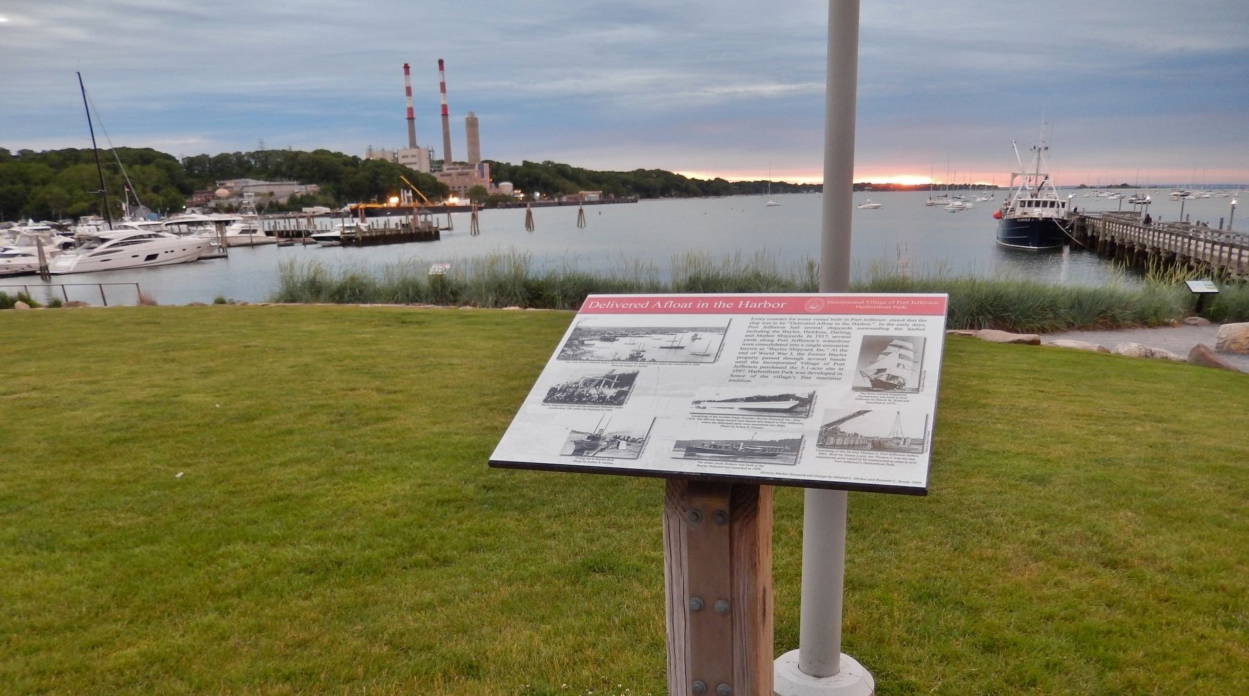 Delivered Afloat in the Harbor Marker (<i>wide view; overlooking the harbor</i>) image. Click for full size.