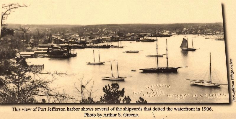 Marker detail: Port Jefferson Harbor, 1906 image. Click for full size.