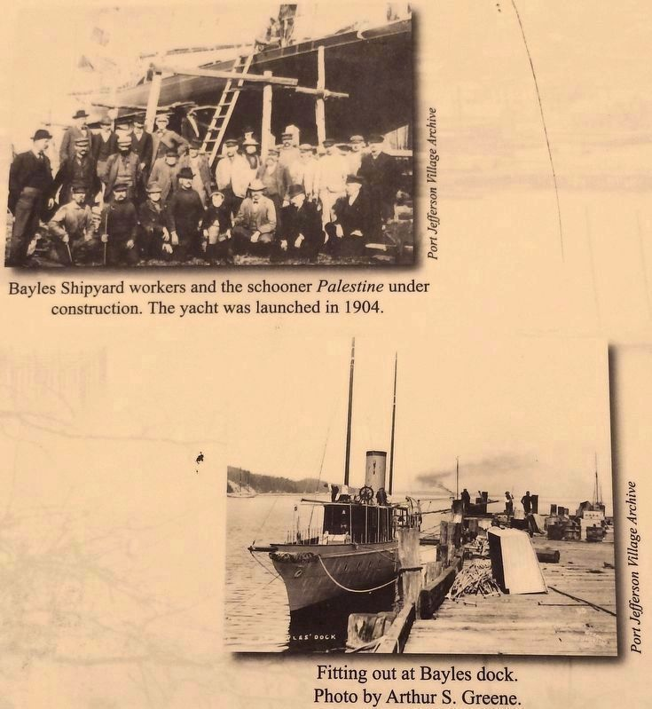 Marker detail: shipyard workers & Bayles Dock image. Click for full size.
